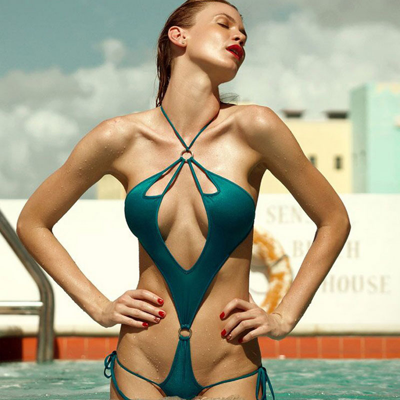 High Cut Badpak.Sexy One Piece Swimsuit Cut Out Swimwear Women Deep V Neck Badpak