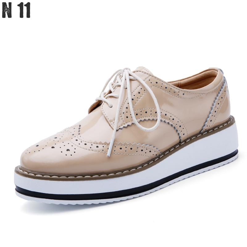 2017 New Brand Spring Women Platform Shoes Woman Brogue Patent Leather Flats Lace Up Footwear Female Flat Oxford Shoes For Women qmn women crystal embellished natural suede brogue shoes women square toe platform oxfords shoes woman genuine leather flats