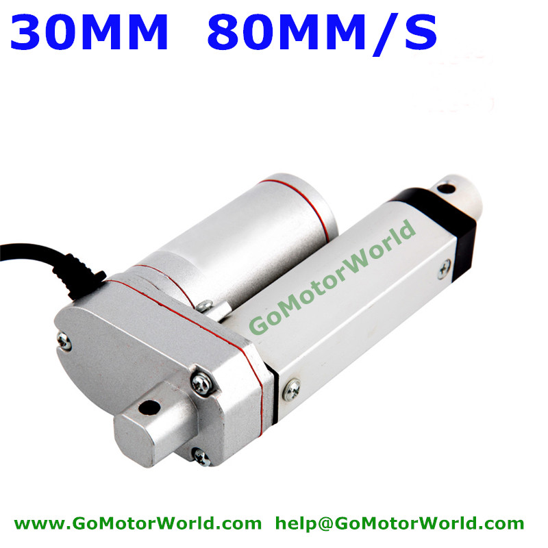 Best industry Linear Actuator 12V 24V 30mm Stroke 1500N load 80mm/s speed actuator linear 80mm x 30mm aluminium flat rectangular bar 80 30mm width 80mm thickness 30mm 6061 t6