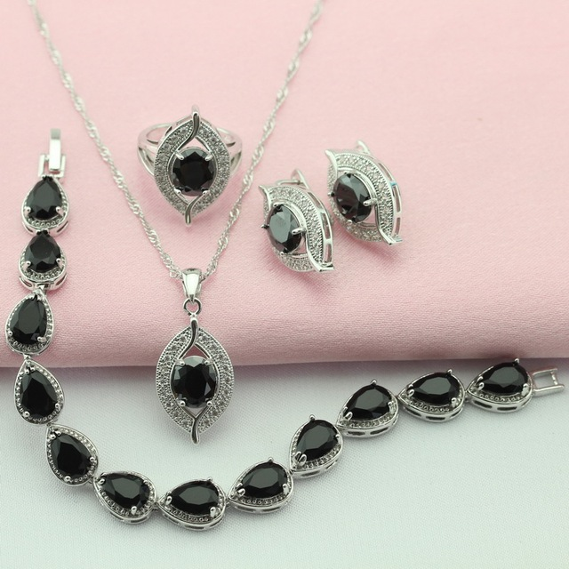 Classic Party Black Stone Silver Plated Jewelry Sets For Women Earrings Pulseira Corrente Necklace Pendant Ring Free Gift Box