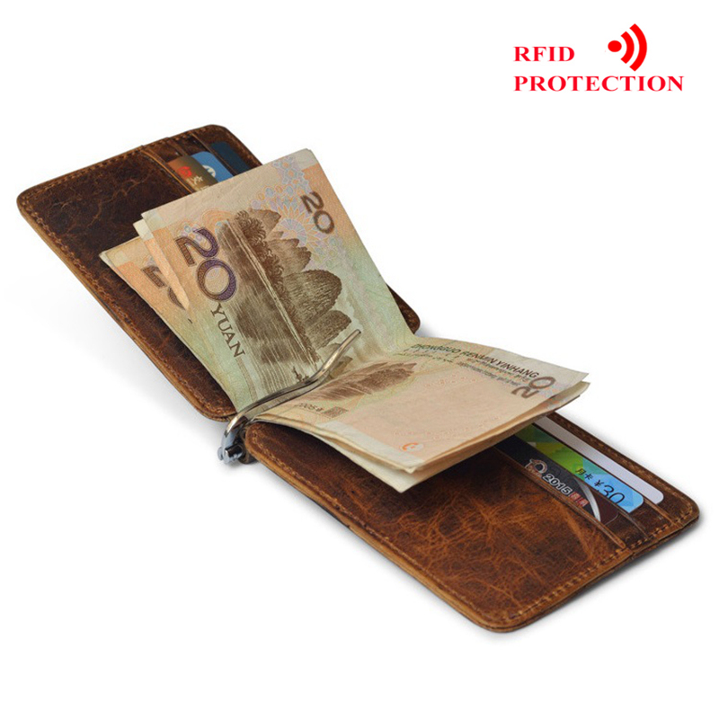 d8cf5cd7fc04 US $7.99 40% OFF|MRF22 RFID blocking Leather Money Clip Metal Wallet Men  Thin Billfold Folded Clamp for Money Credit Card Case Cash Clips-in Wallets  ...