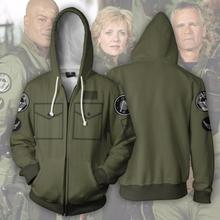 2018 3D Print Stargate:SG-1 Explorer Unit Cosplay Sweatshirt Hooded Zipper Jacke