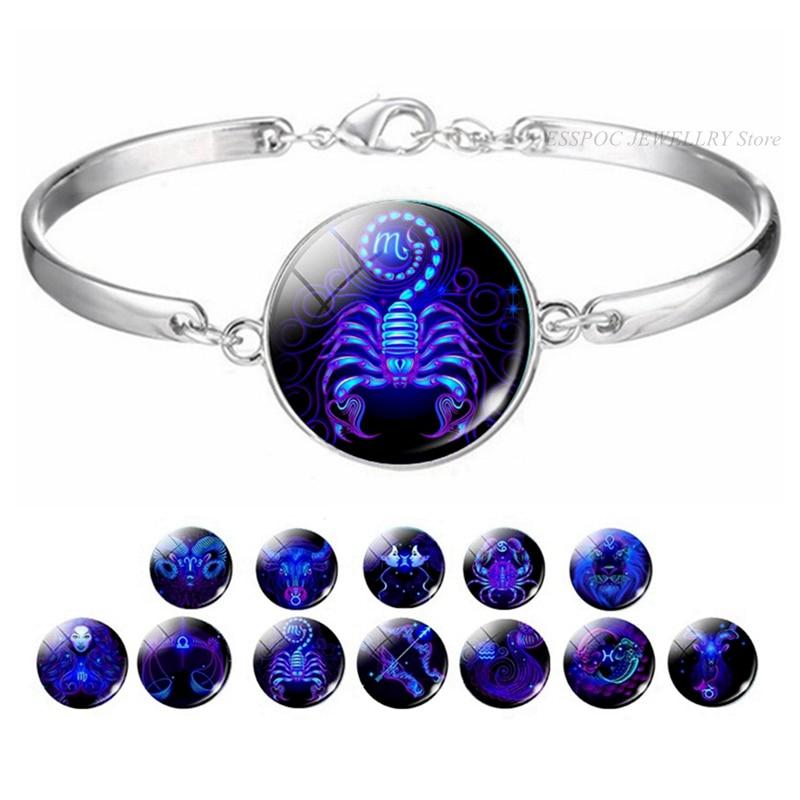 12 Zodiac Horoscope Star Bracelet Constellations Sign Glass Cabochon Jewelry Bracelets Silver Bangle Women Birthday Gift