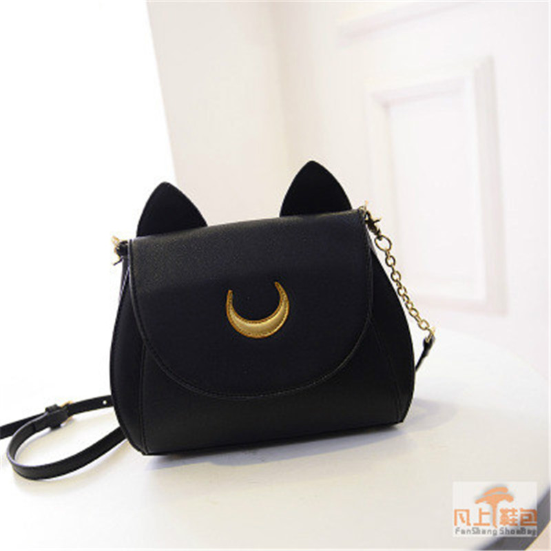 2016 Women PU leather Handbags Summer Limited Sailor Moon Bag Ladies Handbag  Luna Moon Women Messenger Crossbody Bag BB050