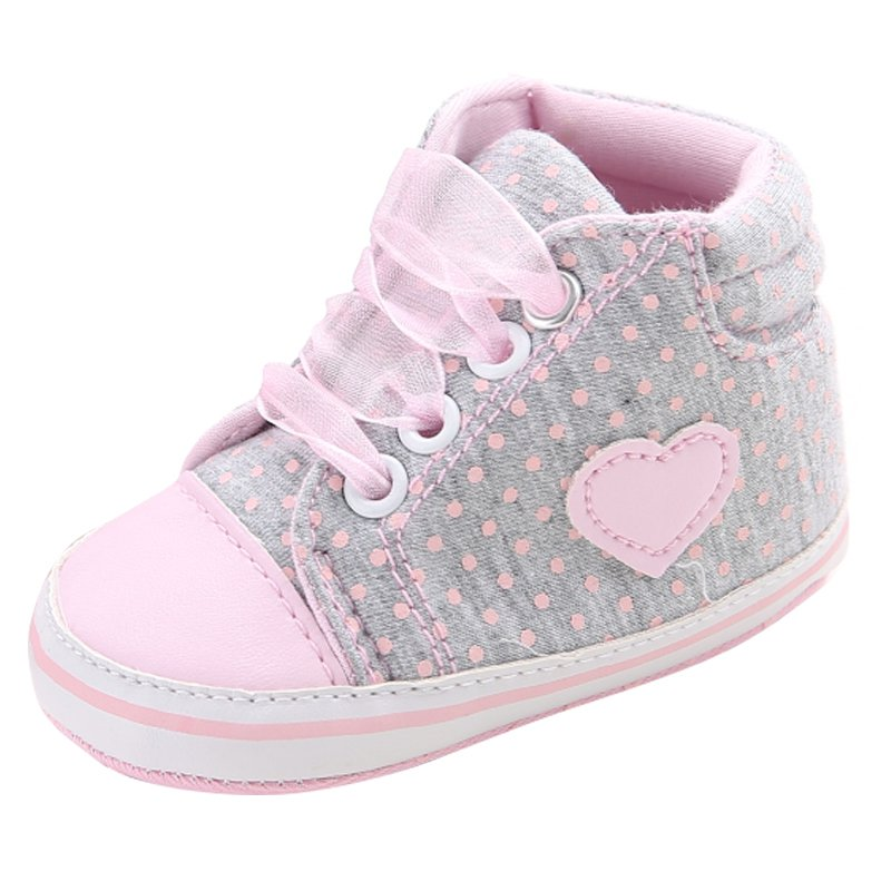 Infant Newborn Baby Girls Polka Dots Heart Lace-Up First Walkers Sneakers Shoes Toddler Classic Casual Shoes 0-18M Baby Gif