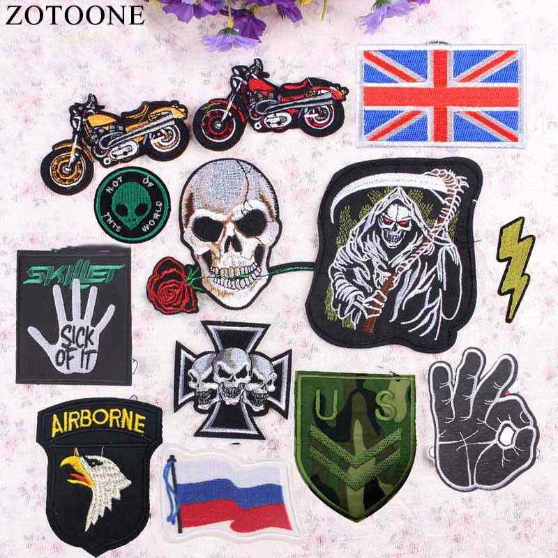 1 Buah Bendera Militer Alien Patch Biker Lencana dengan Harga Murah Bordir Motor Patch Punk Rock Besi Pada Tengkorak Patch untuk Pakaian DIY