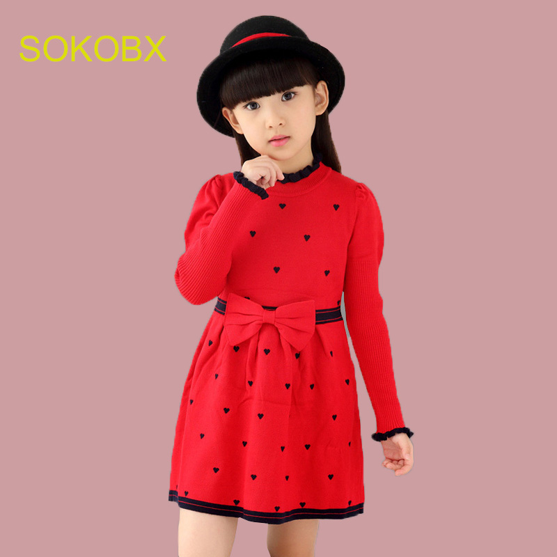 Girls Dress 2017 Winter Sweater Dress Girls Bow Sweater Clothes Kids Girl England Dresses Sweater Robe Fille Baby Infant Winter