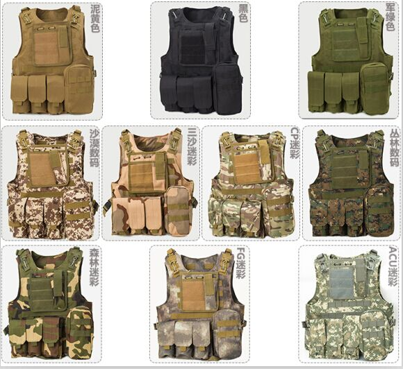 Field tactical vest riding vest tactical equipment of special forces desert camouflage combat ghost amphibious vest upgraded version of the cs special tactical vest vest american field equipment thickening tactical vest