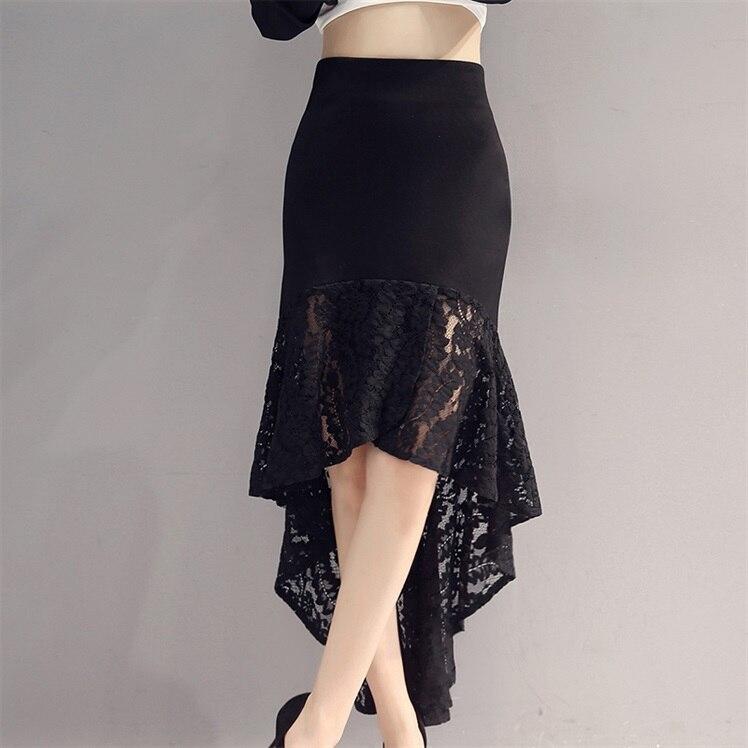 2019 New Sexy Latin Dance Skirts Women Black Lace Skirt Irregular Fish Tail Skirt Long Ballroom Dance Dress