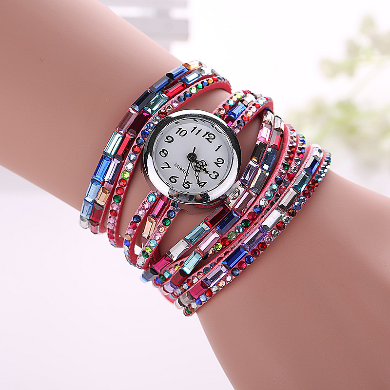 Casual Colorful Rhinestone Crystal Bracelet Watches Women Quartz Wrap Watch Lady Dress Saat Ladies Luxury Diamond Bracelets bs brand women luxury fashion rhinestone watches lady shining dress watch square bracelet wristwatch ladies diamond quartz watch