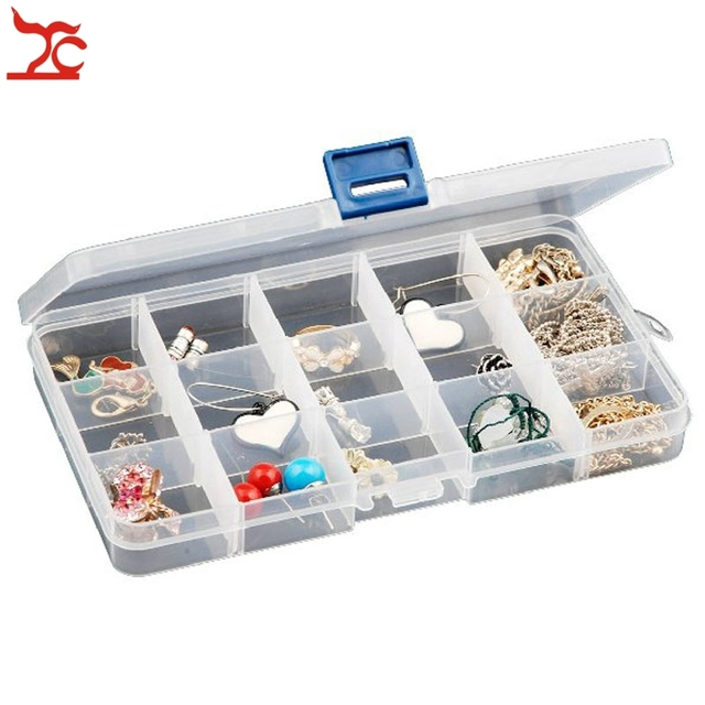 Retail 15 Grids Compartment Beads Carrying Case Transparent