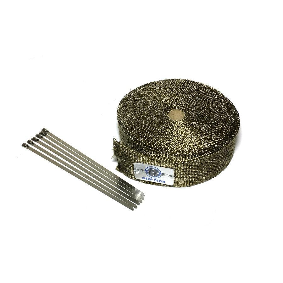 2 pouce x 5 m/15ft Lava Fiber Thermique D'échappement Tuyau Collecteur de Chaleur Wrap Échappement Wrap Titanium Chaleur Bande Avec Câble De Verrouillage Liens Kits