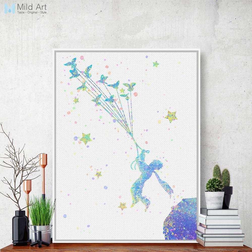 Akvarel Malý princ Moderní pop Film plakát Velké plátno Umělecká reprodukce Plakát Bez rámu Obrazové malby Nordic Home Decor