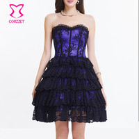 Purple Satin Black Floral Lace Ruffles Sexy Gothic Dress Victorian Steampunk Clothing Burlesque Corset Dresses Prom