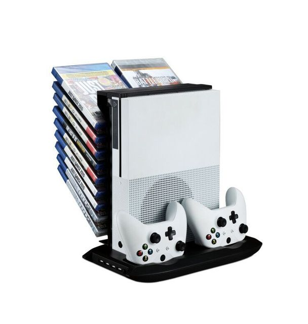 Xboxone S Multifunctional Disk Storage Tower with 2 Controller Charging Dock and Console Cooling Fan Cooler for Xbox One Slim