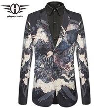 Plyesxale Slim Fit Mens Velvet Blazers Bear Tiger Crocodile Pattern Animal Printed Blazer Jacket Male Stage Prom Blazer Q437