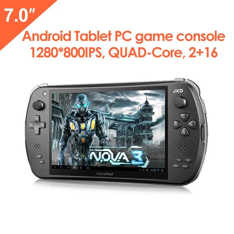 JXD S7800B 7 pulgadas Duad Core 16 GB consola de juegos inteligente 2GB RAM 1280X800 IPS tableta de doble cámara Android 4.4.4 consola de juegos portátil