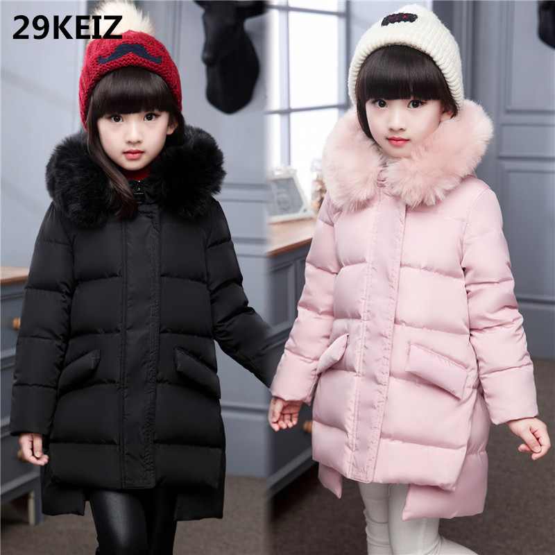 29KEIZ Winter Girls Outerwear & Coats Solid Black Red Children Girl Parkas Hooded Fur Collar Long Down Jackets for 6 8 12 Girls 2017 kids jacket winter for girl and coats duck down girls fluffy fur hooded jackets waterproof outwear parkas coat windproof