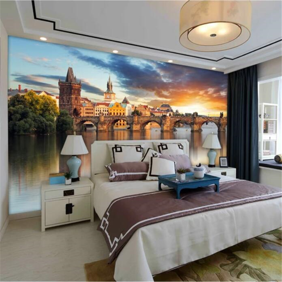 beibehang Custom wallpaper 3d murals beautiful European architecture background wall waterfront city scenery wallpaper 3d mural image