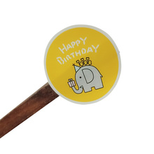 80pcs/lot Lovely Happy Birthday Elephant Biscuits Gift Box Cake Label Hand Made Kids Party Stickers