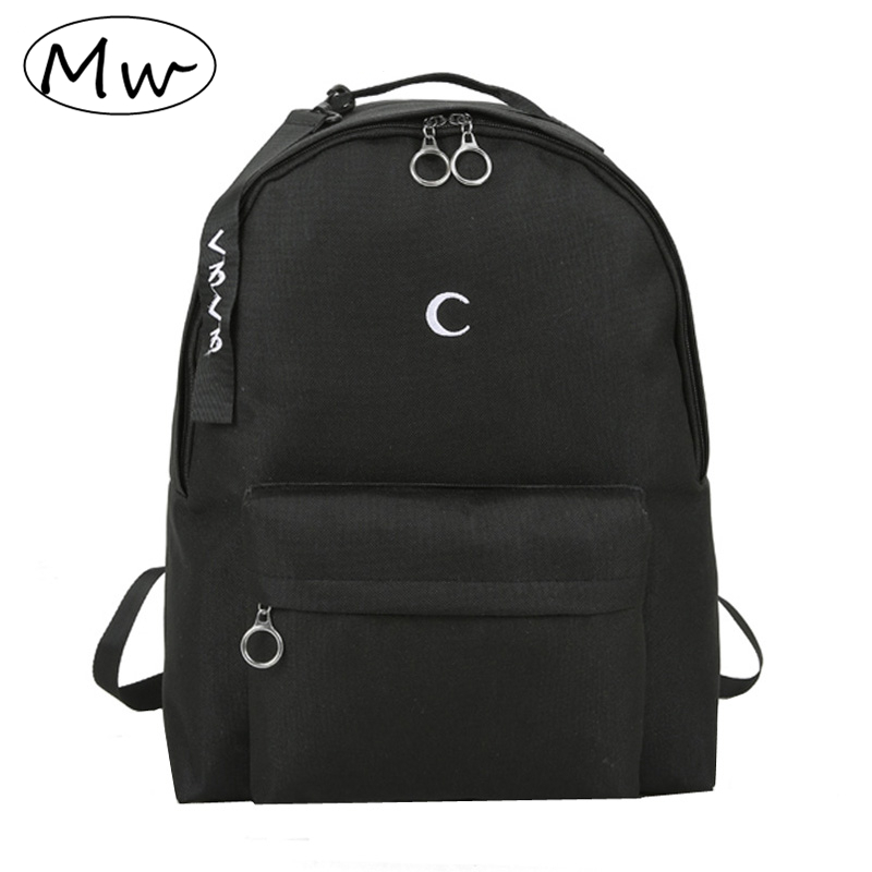 Moon Wood Harajuku Men's Black Backpack Embroidery Moon Cross Backpack School Bags For Teenagers Girls Boys Students Travel Bag
