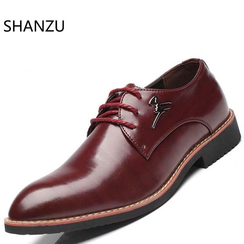 Haute qualité 2018 nouveau chaussures plates pour homme en cuir chaussures richelieu pointu Oxford plat mâle chaussures décontractées hommes marque de luxe 339