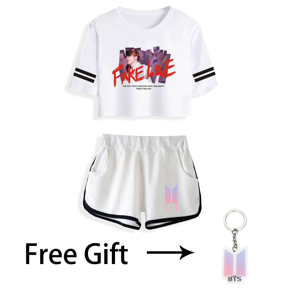 ef1c828783ce BTS New Album Kpop Bangtan Boys Crop Top Women Love Yourself Tear Fake Love  Summer Shorts And T shirt Women Fashion Clothes-in T-Shirts from Women s ...
