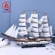 цены на LUCKK 80CM Black Button Wooden Model Ships Sailboat With Fishing Net Home Interior Decoration Wood For Crafts Toys Sailing Model в интернет-магазинах