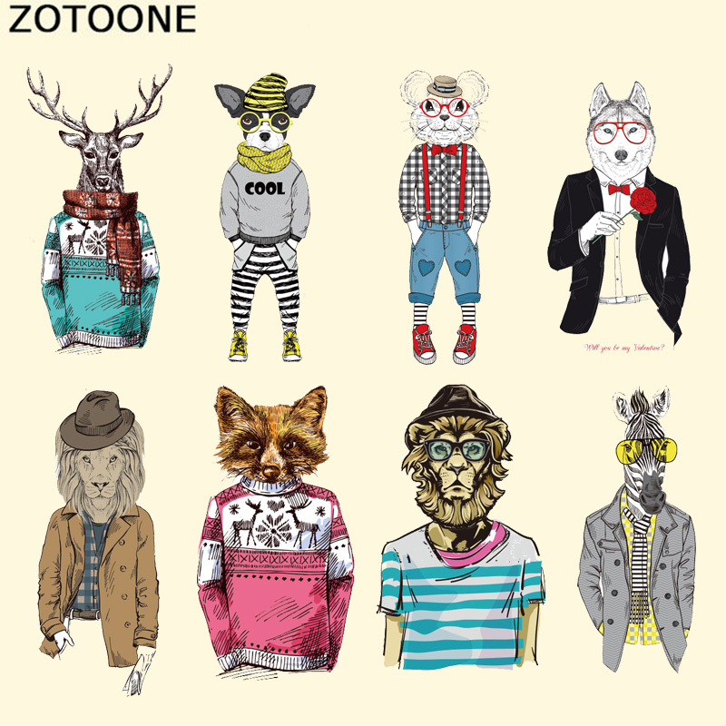 ZOTOONE Iron on Transfer Fox Lion <font><b>Deer</b></font> <font><b>Patches</b></font> Sticker Applique Animal <font><b>Patch</b></font> for Clothing DIY Stickers on Clothes for T-shirts image