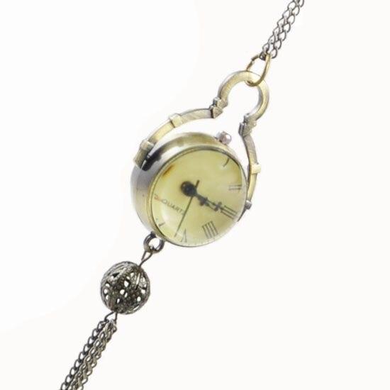cc79e64ec2e っAtacado Bola Projeto Quartzo colar relógio de bolso de Bronze Do ...
