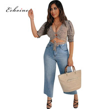 Echoine Women Fashion Shirts Half Sleeve Lace Up Keyhole Zippers Crop Tops Leopard Print V-Neck Casual Slim Fit Blouses Clothes lace raglan sleeve keyhole tee