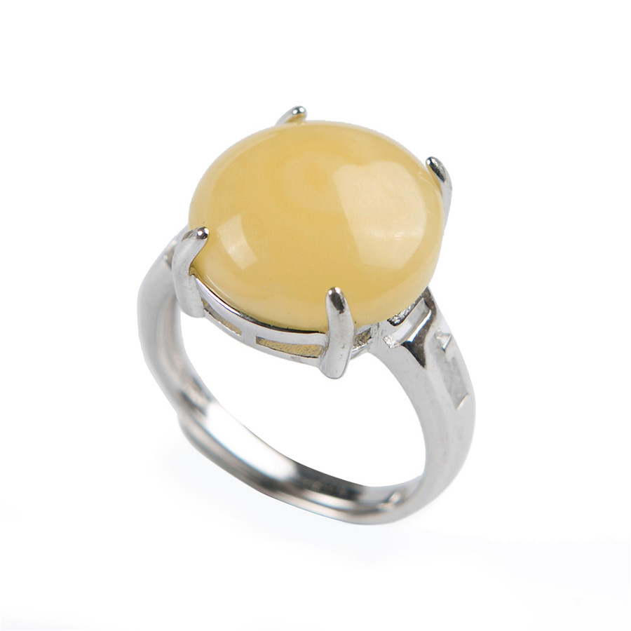 Genuine Natural Yellow Transparent  Rare Round Stone Bead Fashion Stering Sliver Women Adjustable Size Ring 13*13*10MM