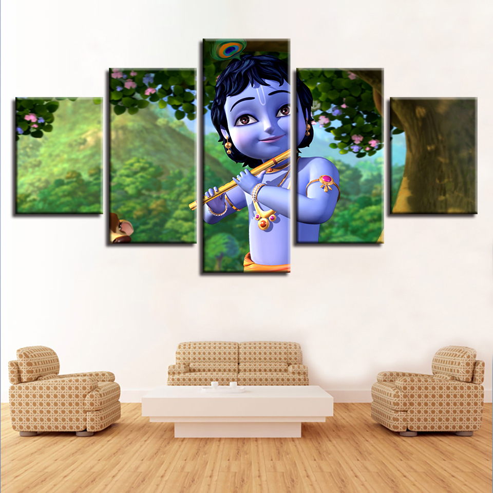 US $5.65 42% OFF|Frame HD Printed Modern Living Room 5 Panel India God  Radha Krishna Painting Wall Art Modular Poster Home Decor Canvas  Pictures-in ...