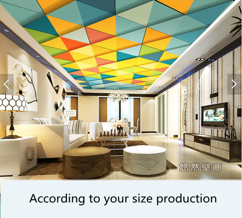 Custom ceiling wallpaper. 3D geometric pattern for the living room hotel restaurant ceiling wall waterproof papel de parede custom 3d stereo ceiling mural wallpaper beautiful starry sky landscape fresco hotel living room ceiling wallpaper home decor 3d