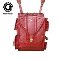 Unisex Red Retro Backpack Men Women Personality Steampunk Back Packs Street Rivet Backpacks Large Capacity Students