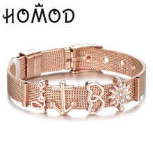 7c9ac830d Drosphipp Adjustable Stainless Steel Woman Men Bracelet Mesh Bracelet  Crystal Star Anchor Charm Pandora Bracelet For