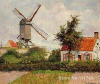 art landscape Windmill at Knokke Belgium Camille Pissarro paintings on canvas High quality Hand painted