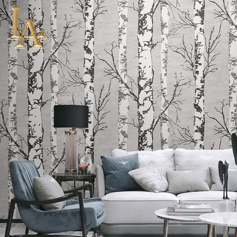 Birch Tree Pattern Non-woven Woods Wallpaper Roll Modern Designer Wallcovering Simple Black And White Wallpaper For Living Room modern birch tree wallpaper brief wallpaper trees wallpaper 3d mural wall roll for living room non woven wallpapers for walls