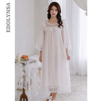 Women Sleepwear Set Lace Gown Long Robe Soft Sleep Shirt Dress For Night Western Wear Plus Size Nightgowns Vintage Clothing T202