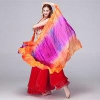 100% Jedwabiu Scen Prop Podwójne Kolory Tie Dye Lekka Konsystencja Szalik Kobiety Akcesoria Taneczne Taniec Brzucha Silk Veil