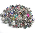 Free shipping 50pcs mix color & style rhinestone big hole charms charms & crystal glass fit European Pandora bracelet DIY