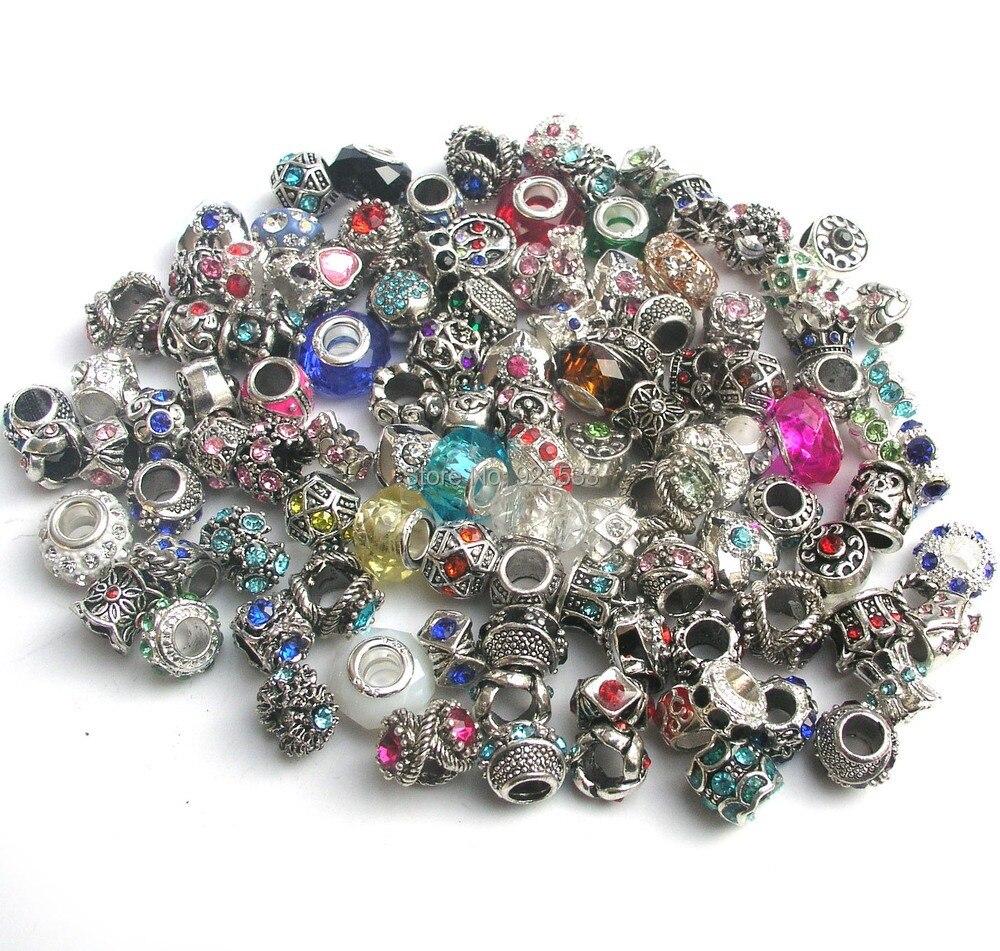 Prix pour Livraison gratuite 50 pcs mix couleur & style strass grand trou charmes en cristal en verre perles fit Européenne Pandora charms bracelet DIY