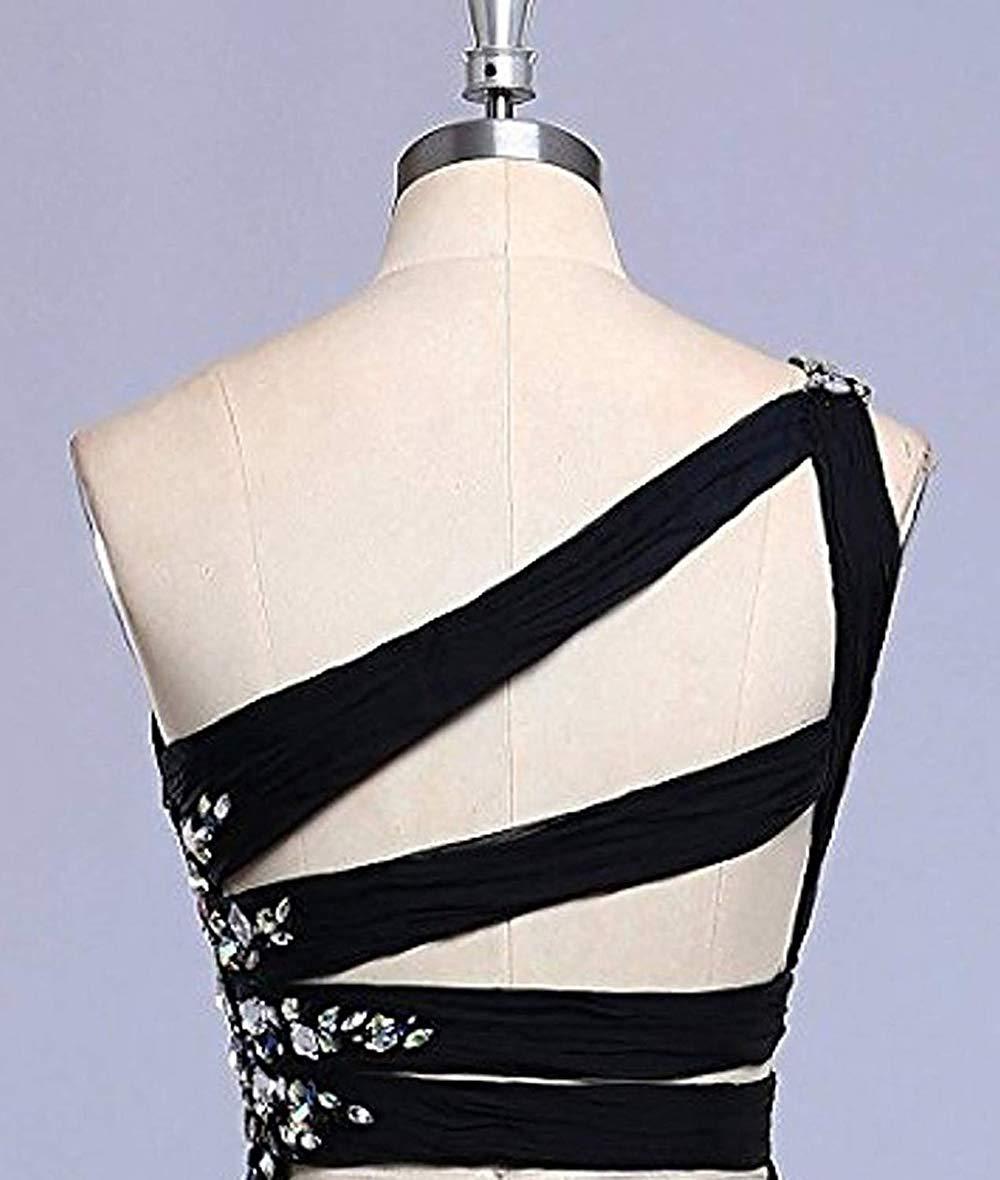 JaneVini mode 2019 haut bas dégradé en mousseline de soie longue robes de demoiselle d'honneur une épaule cristal perlé dos nu robes de soirée formelles - 6