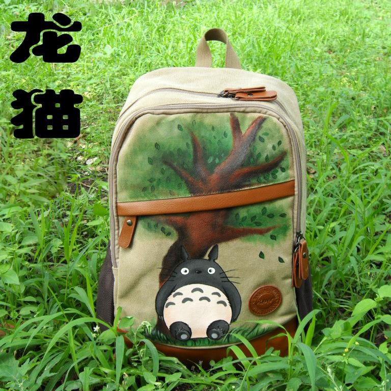 Anime Tonari no Totoro Cosplay Fashion canvas student backpack graffiti hand painted backpack anime tonari no totoro cosplay canvas shoulder bag female japanese and korean college wind travel backpack student bag graffiti