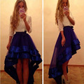 2017 Hi-Low Edgy Tulle Skirt Royal Blue Ultra Romantic Tulle Skirts With Bow Free shipping with tail train