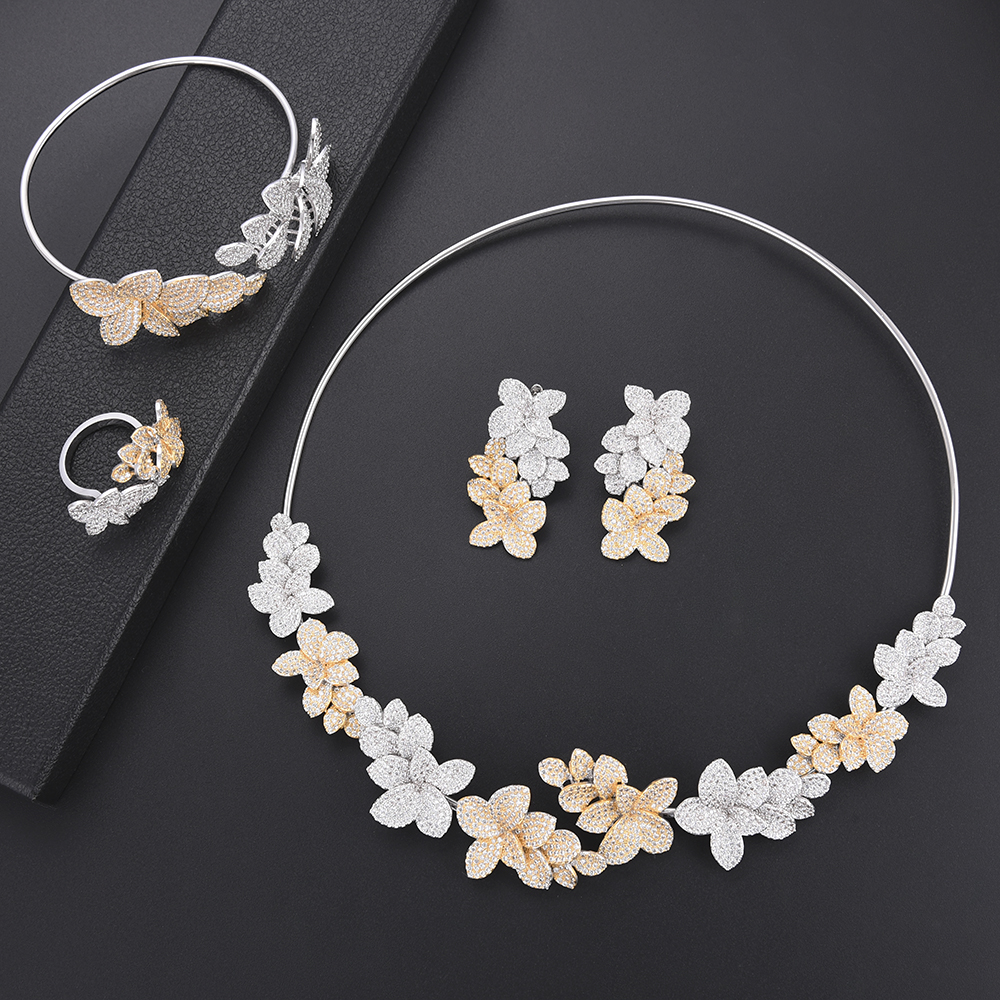 Fashion Flower Cubic Zirconia bridal wedding jewelry african Dubai jewelry set Necklace Earrings Bangle Ring For Women PartyFashion Flower Cubic Zirconia bridal wedding jewelry african Dubai jewelry set Necklace Earrings Bangle Ring For Women Party