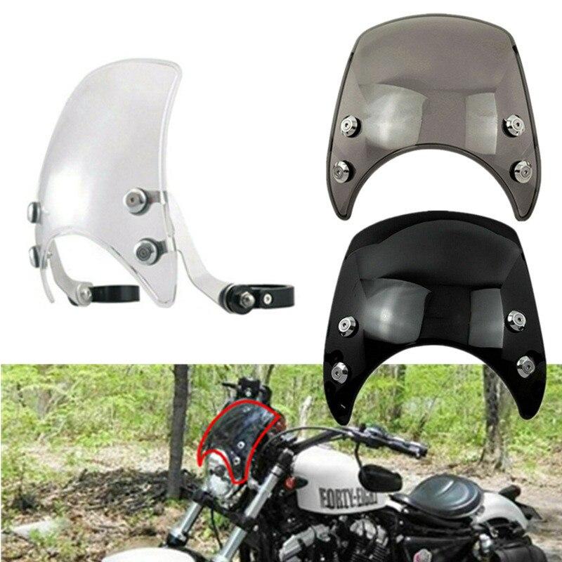 Pare-brise réglable en aluminium de pare-brise de moto de 39mm fumée/noir/clair pour Harley Sportster XL883 XL1200 2004-2019