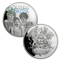 50pcs/lot The Legendary Iconic Rock Band QUEEN Commemorative Silver/Gold Plated Coins Collectibles Fans Gift
