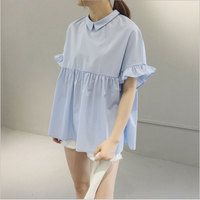 Fashion Women Sweet Ruffles White Blue Blouses Flare Peter Pan Collor Shirts Short Casual Tops Blusa
