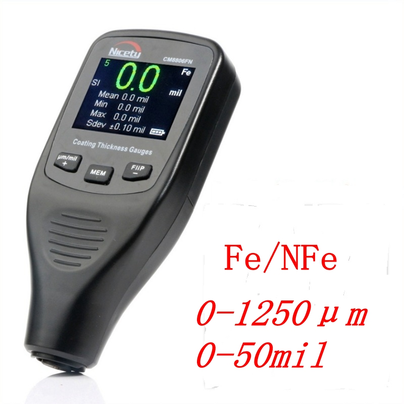 Nicety CM8806FN Car Body Tester Detailing Tool Auto Coating Thickness Gauge 50mil 1250um Car Paint Varnish Film Thickness Meter